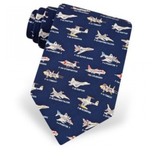Fighter Jet Navy Tie