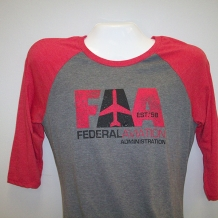 Ladies Raglan T-Gray/Red