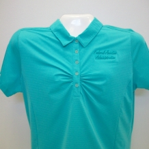 Ladies Ruched Polo-Aqua Grn