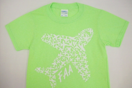 Kids Airplane Tee-Neon Green