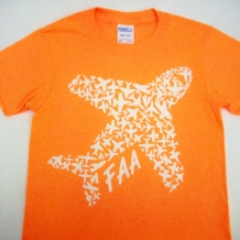 Kids Airplane Tee-Neon Orange